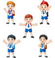 happy school boys in different posing vector image