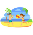 kids in trunks playing ball summertime holidays vector image vector image
