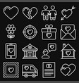 love icons set on black background line style vector image vector image