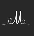 M letter logo monogram with twirls thin line vector image vector image