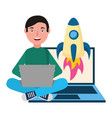 man with laptop rocket vector image