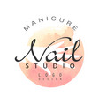 manicure nail studio logo design template for vector image vector image