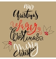 Merry Christmas Lettering Design Set on Golden vector image