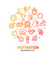 motivation and productivity signs round design vector image vector image