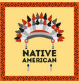 native american headwear feathers tribal vector image
