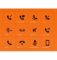 Phone handset and call icons on orange background vector image