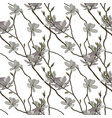 seamless pattern branches and flowers of vector image