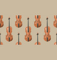 seamless pattern with realistic wooden violin vector image