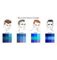 set palettes with blue and violet colors vector image vector image