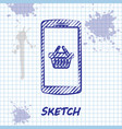 sketch line shopping basket on screen smartphone vector image vector image