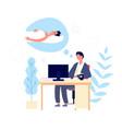 sleepy man guy wishing sleep at office in morning vector image vector image