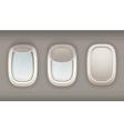Three Realistic Portholes Of Airplane vector image
