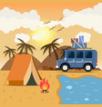 travel car campsite place landscape mountains vector image