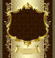 vintage gold banner with a crown on dark brown vector image vector image
