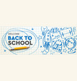 welcome back to school horizontal banner doodle vector image vector image