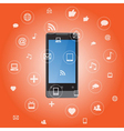 Smartphone with media application icons vector image