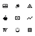 finance 9 icons set vector image