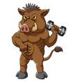 A strong ferocious boar bodybuilder