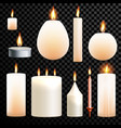candles 3d realistic set flame burning vector image