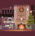 christmas decoration of living room vector image