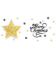 christmas greeting card with gold star and sequins vector image vector image