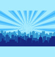 comic city silhouette with sun rays halftone vector image