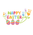 Concept Happy Easter with flowers and eggs vector image