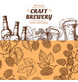 craft brewery banner template with hand drawn hops vector image