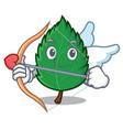 cupid mint leaves character cartoon vector image vector image