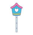 cute birdhouse wooden icon vector image