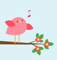 cute pink bird sings on blooming branch vector image vector image