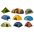 dome and tunnel camping tent isolated icons vector image vector image