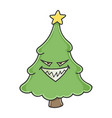 evil grin christmas tree cartoon character vector image vector image