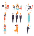 exhausted tired people with burning brains set vector image vector image