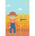 Farmer on the field with scythe vector image vector image