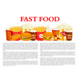 fast food poster of burger drink dessert vector image vector image
