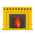 fireplace with fire burning icon isolated vector image