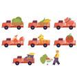 flat flat farmer truck pickup delivering livestock vector image vector image