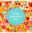 flat happy valentine day background vector image vector image