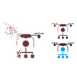 fractured pixel halftone drone distribution icon vector image vector image
