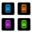 glowing neon mobile phone and password protection vector image vector image