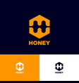 h letter monogram honeycomb logo honey emblem vector image