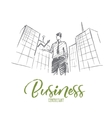 Hand drawn businessman holding growth indicator vector image vector image