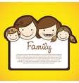 Happy family consists of father mother girl and bo