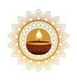 hindu religion candle wooden in golden mandala vector image vector image