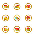 house icon set cartoon style vector image