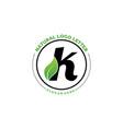 letter k with leaf logo green leaf logo icon vector image