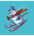 outline of cute snowman with vector image vector image