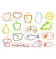 outlines food icons vector image vector image