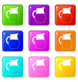 pitcher of milk icons 9 set vector image vector image